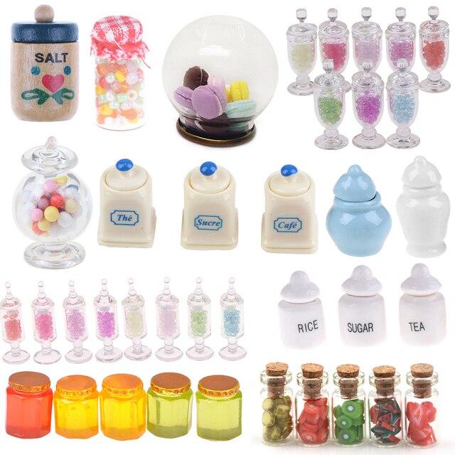 1:12 Scale Dollhouse 4Pcs Miniature Candy Bar Food Jar Kitchen Decoration LTJY