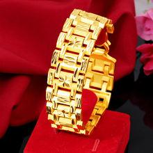 24k yellow gold bracelet for men sandblasted watch buckle hand