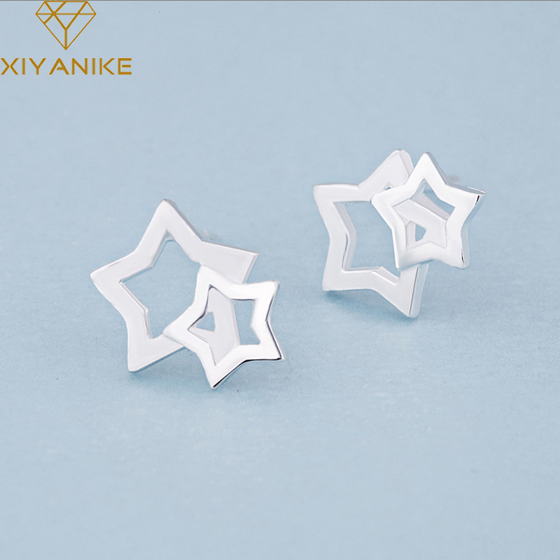 XIYANIKE 925 Sterling Silver Hot Sale Hollow Five-pointed Star Stud Earrings For Women Design Creative Small Earrings Jewelry