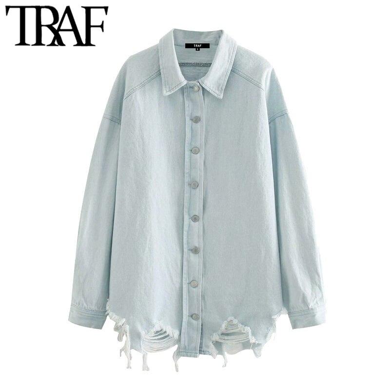 Блузка женская джинсовая оверсайз, с воротником с лацканами и длинным рукавом
