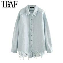 TRAF – chemisiers en Denim déchiré pour femmes, surdimensionnés, Vintage, col à revers, manches longues, chemises amples, hauts