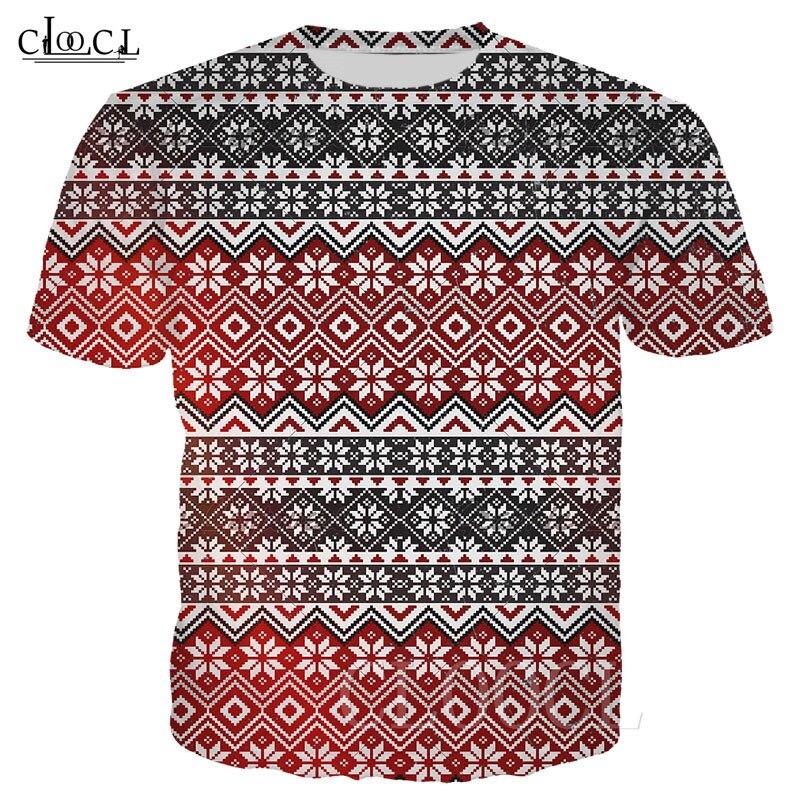 Popular Retro Art Plus Size T Shirts Women Men Harajuku T-shirt Merry Christmas Tee Pullover 3D Print Xmas Reindeer Pattern Tops 1