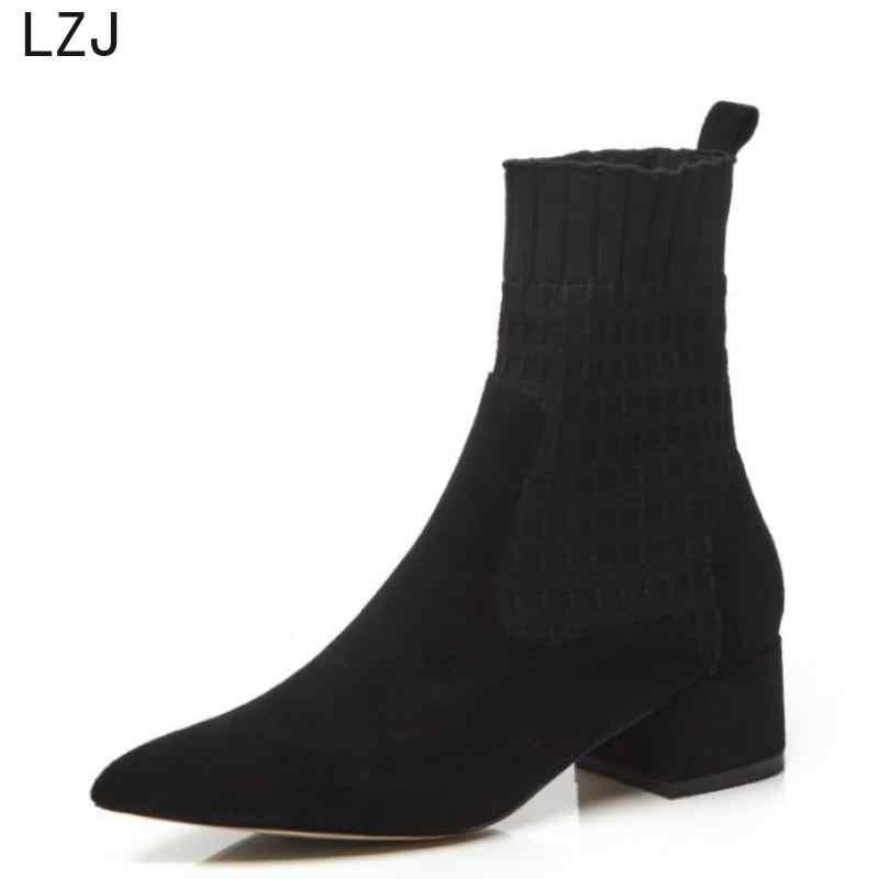 Lzj apontou botas femininas dedo do pé fio elástico salto grosso sapatos de salto alto mulher meias femininas tricô tornozelo botas rosa sapatos preto