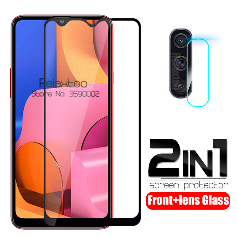 2 In 1 Camera Tempered Glass For Samsung A20s Glass Screen Protector On The For Samsung Galaxy A20s A 20s A207F Protective Film