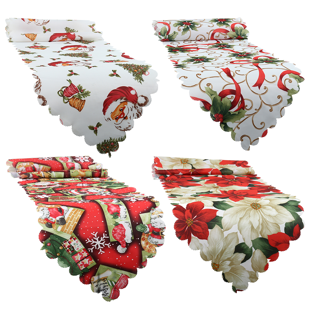 2019 Christmas Table Runner New Year Tablecloth Mat Santa Snowflakes Festive Xmas Party Banquet Decor Wedding Table Runner