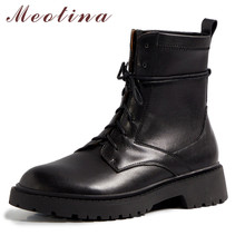 Meotina Motorcycle Boots Women Shoes Natural Genuine Leather Flat Platform Short Boots Lace Up Ankle Boots Ladies Autumn Black prova perfetto black ankle boots for women rivets studded flat autumn botas mujer genuine leather platform rubber martin boots