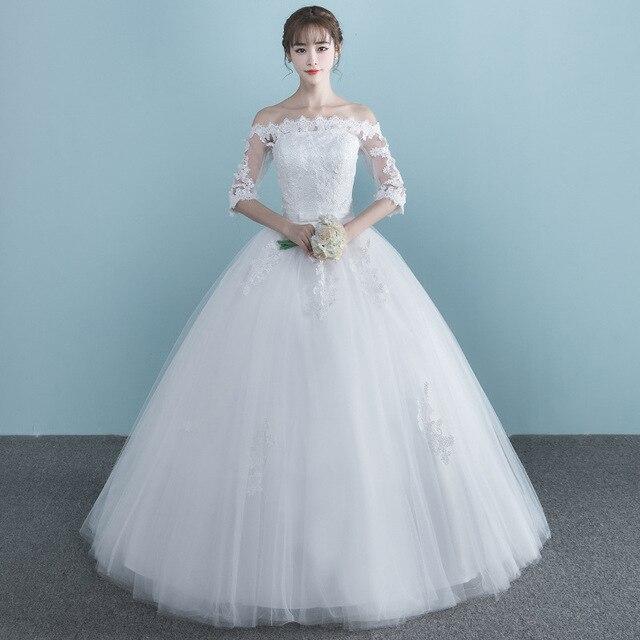 LAMYA Vestidos Boat Neck Bride Married Dress Long Sleeve Simple Large Size Ball Gowns Tulle Wedding Dresses De Novia New Lace up 3