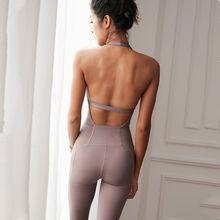 Sexy sem encosto esporte terno apertado dança yoga conjunto de fitness macacão para as mulheres ginásio correndo treinamento treino atlético terno