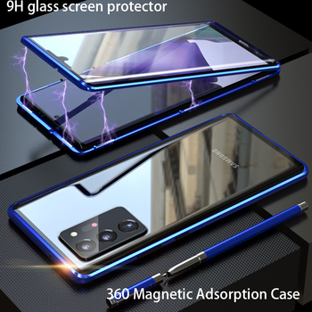 Magnetic Adsorption Case For Samsung Galaxy S20 S10 S8 S9 Note 20 10 Ultra Plus Lite 9 8 phone Cases Tempered Glass Cover Metal