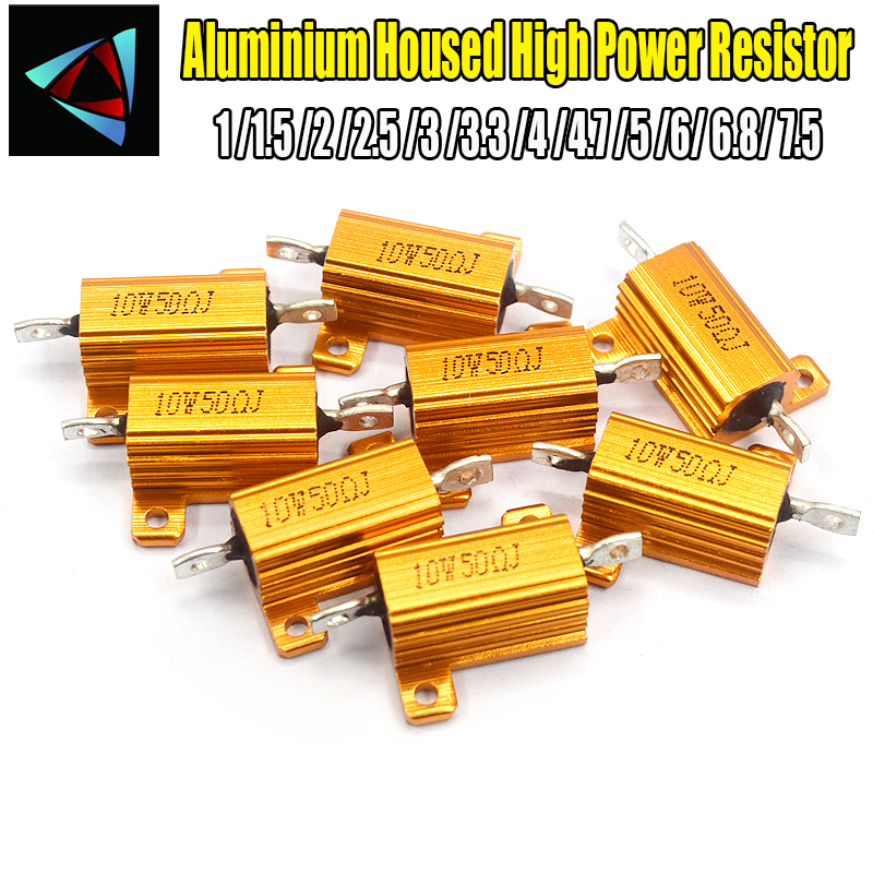2PCS RX24 10W Aluminium Housed High Power Resistor Metal Shell Heatsink 1 1.5 2 2.5 3 3.3 4 4.7 5 6 6.8 7.5  Ohm Multiple Resist