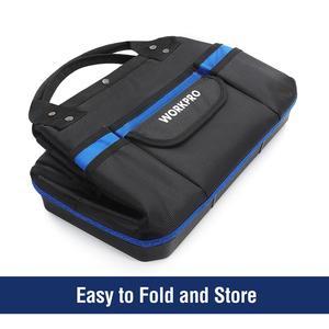 """Image 4 - WORKPRO 15 """"أداة حقيبة التخزين واسعة الفم مجموعة أدوات حقيبة 1680D مقاوم للماء أداة منظم سعة كبيرة"""