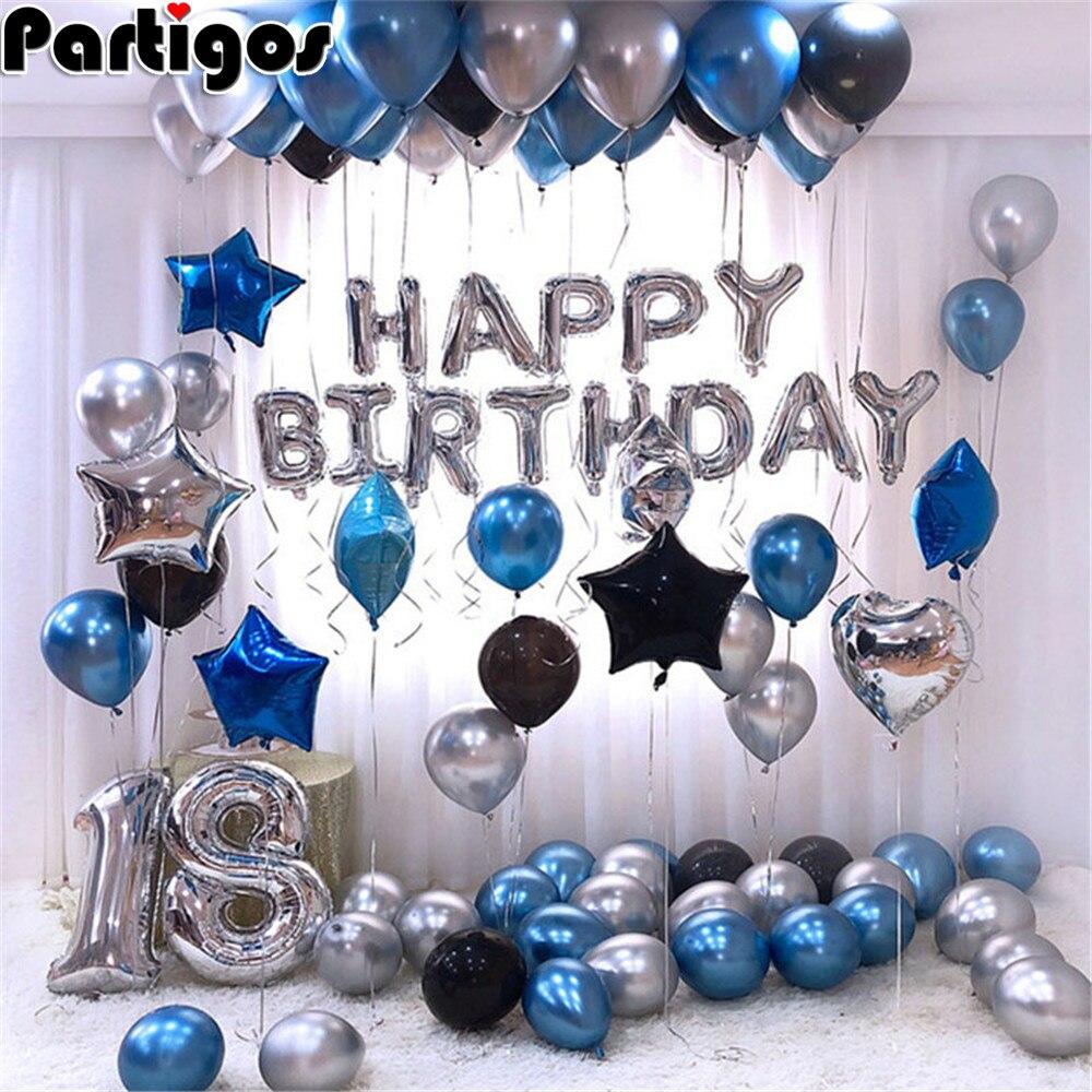 1 conjunto de ouro prata metal látex balões 16 18 21 30 40 50 anos número feliz aniversário festa decoração balão adulto globos
