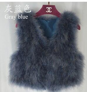 Новинка, женский жилет из натурального меха страуса, меховое пальто из страуса, Меховая куртка, много цветов,, низкая цена, F1092 - Цвет: gray blue