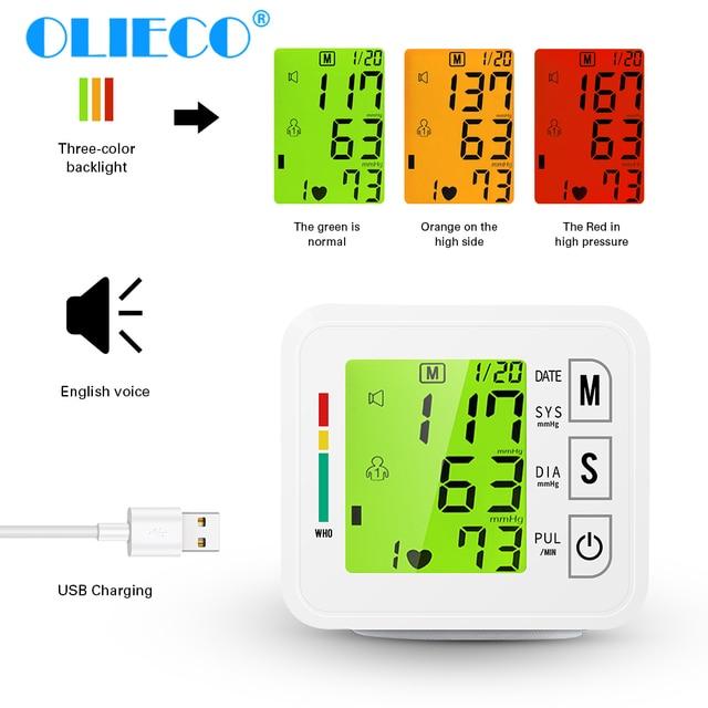 OLIECO Handgelenk Blutdruck Monitor USB Aufladbare Digitalen Blutdruckmessgerät Englisch Stimme 3 Hintergrundbeleuchtung Erinnern 2 Benutzer Speicher