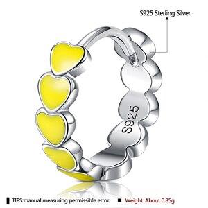 ZEMIOR натуральная S925 стерлингового серебра Радуга Цвет эмали в форме сердца серьги кольца для женщин 2021 новые серьги обручи женские ювелирные украшения Серьги-кольца      АлиЭкспресс