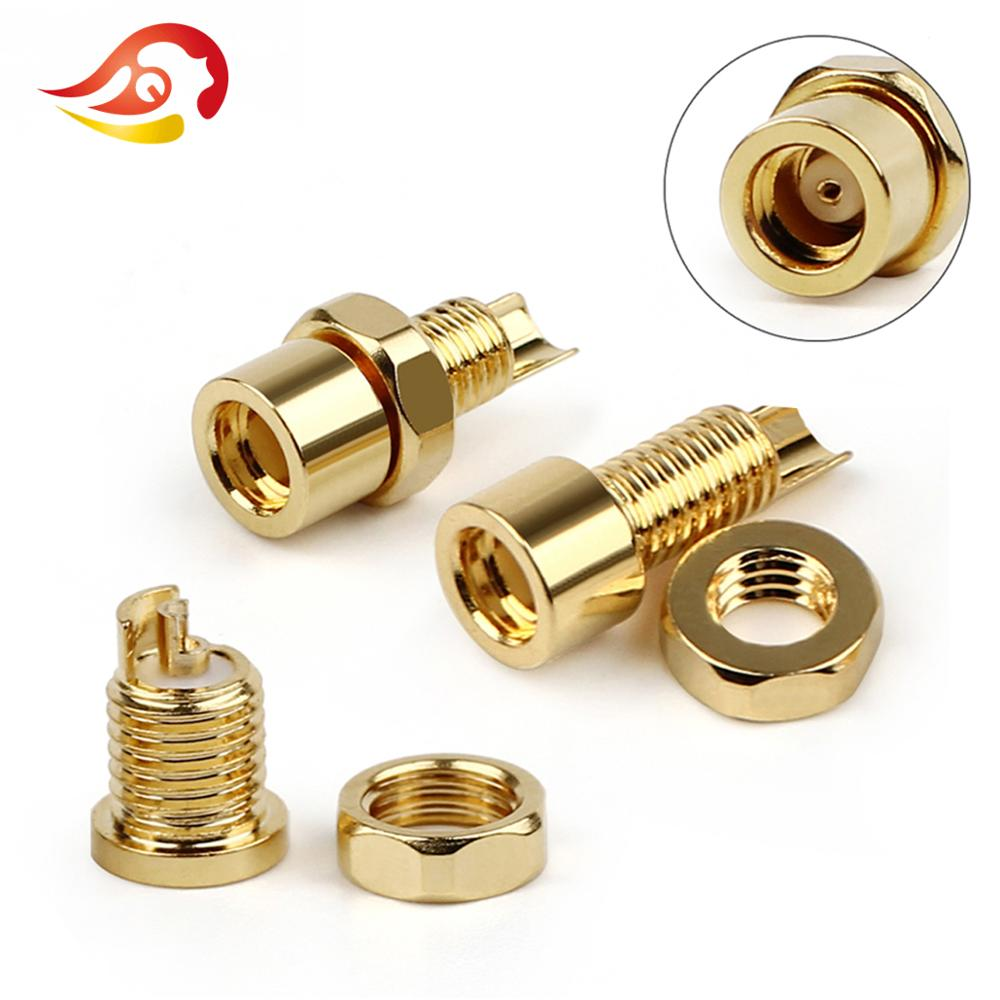 QYFANG Gold Plated Beryllium Copper MMCX Female Jack Solder Wire Connector PCB Mount Pin IE800 DIY Long/Short Audio Plug Adapter