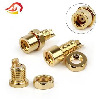 цена на QYFANG Gold Plated Beryllium Copper MMCX Female Jack Solder Wire Connector PCB Mount Pin IE800 DIY Long/Short Audio Plug Adapter