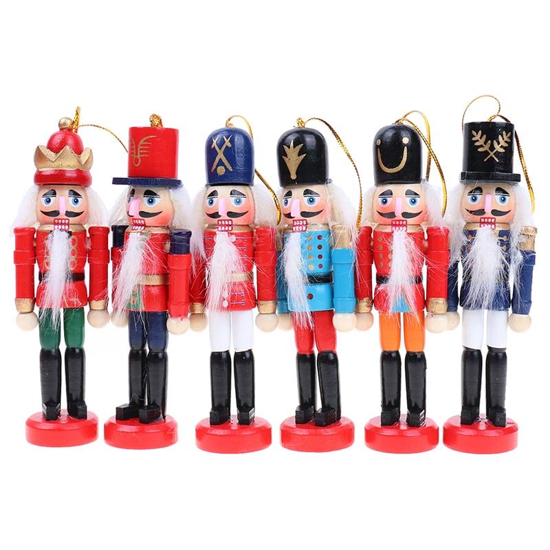 Wooden Nutcracker Doll Soldier Mini Vintage Ornaments Christmas Home Decor