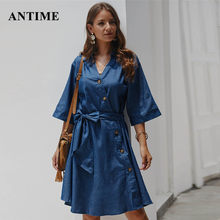 Antime Denim Dress Casual Women Bow Sashes Lace Up Half Sleeve Turn Down Collar Button Autumn Winter Midi Dress Female(China)