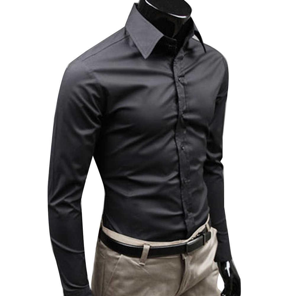 Bisnis Pria Warna Solid Lengan Panjang Turun Slim Katun Plus Ukuran Baju Lengan Panjang Turun Slim Katun Plus Ukuran Baju bisnis Pria