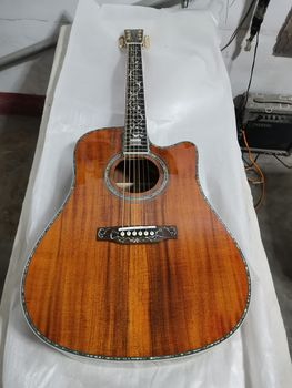 free shipping professional acoustic guitar dreadnought 41 inches solid koa fancy acoustic electric guitar free shipping 12 string guitar grand auditorium body armrest bevelled cutway 12 strings solid acoustic electric guitar
