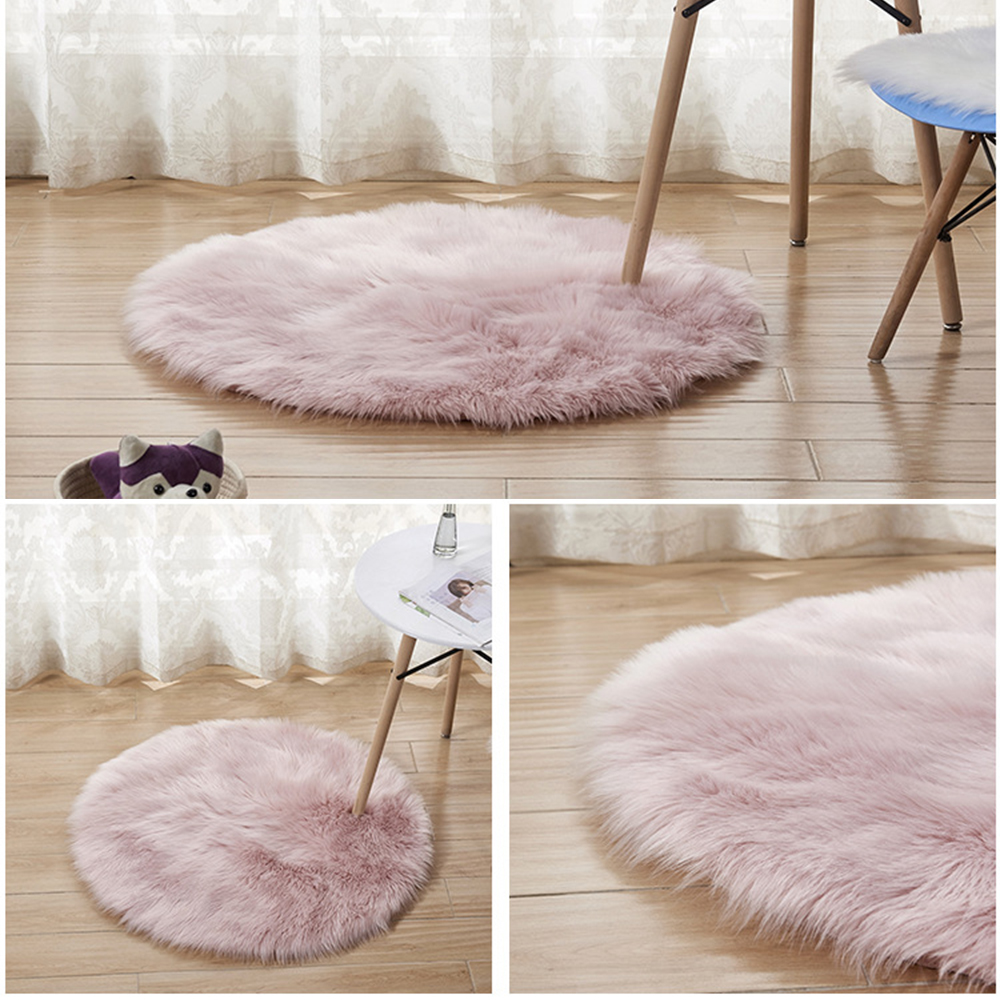 Fur Area Sheep Shaggy Mat Round Rug Faux Sheepskin Soft Carpet  Home Decor Washable 6cm Long Shiny Fur Sheepskin Soft Carpet D20