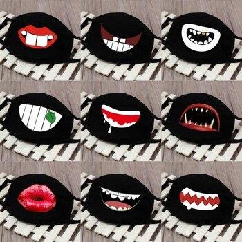 1pc Cute Unisex Funny Tooth Dust Mask Lips Fangs Cotton Mask Cartoon Kpop Flu Mask Emotiction Masque Hot