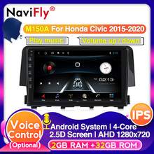 Navifly Android IPS DSP Car Multimedia radio player For Honda Civic 2016 2017 4G LTE Carplay wheel steering control GPS