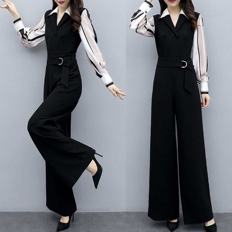 Women 2020 Spring Autumn Fashion Elegant Office Workwear Casual Jumpsuit Female V-Neck Full Sleeve Wide Leg Romper With Belt L49