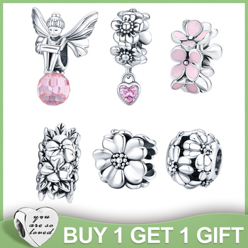 WOSTU Pink Flower Charms 100% 925 Sterling Silver Blossom Flower Beads Fit Original Bracelet Pendant For Women Necklace Jewelry wostu 2018 fashion 925 sterling silver convallaria pendant necklace for girl women silver jewelry original brand gift cqn229