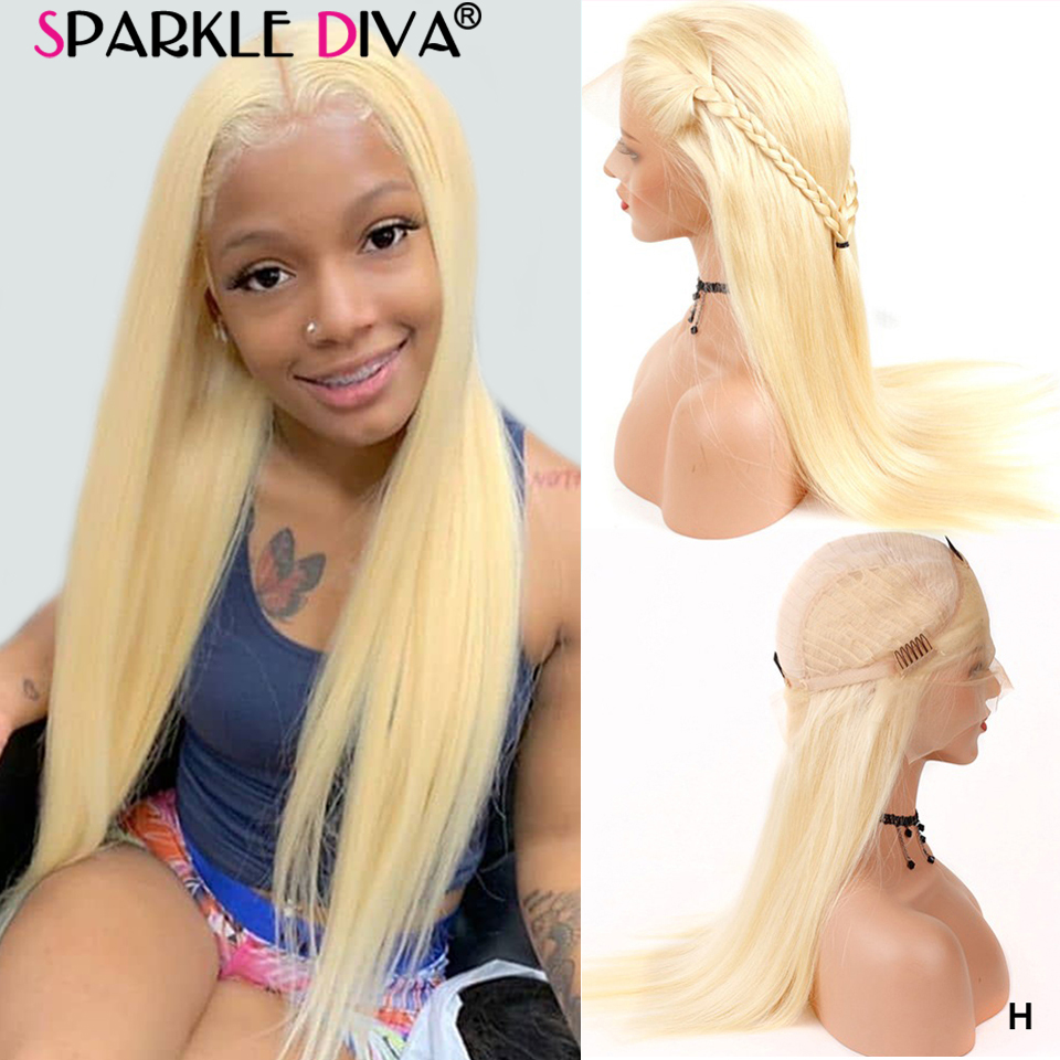 Glueless 613 Blonde Lace Front Human Hair Wigs Brazilian Straight Lace Front Wig 8''-24'' Remy 13X4 Honey Blonde Lace Wigs 150% image