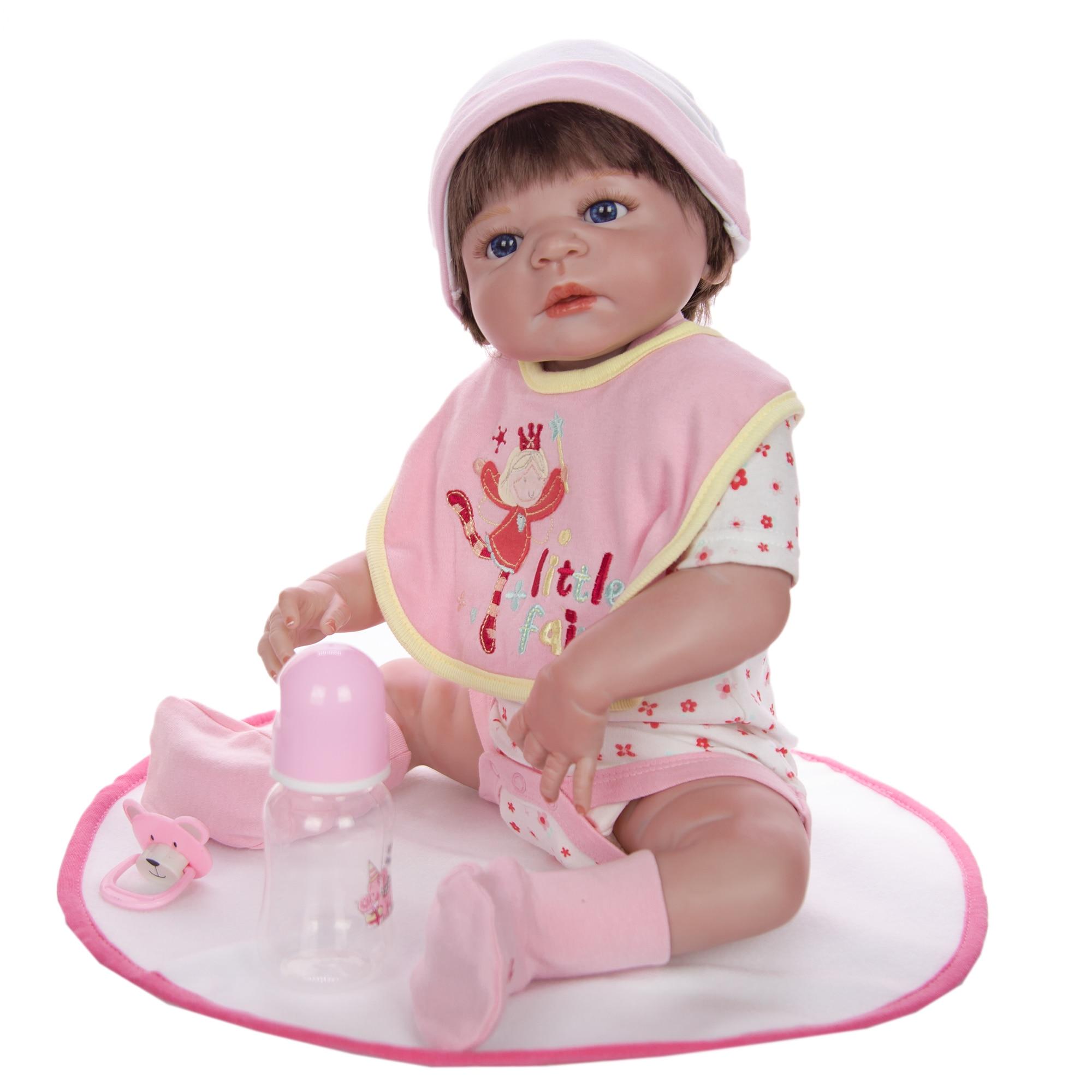 전신 실리콘 비닐 reborn 아기 소녀 인형 58 cm/23 inch 현실적인 살아있는 아기 장난감 크리스마스 선물-에서인형부터 완구 & 취미 의  그룹 2