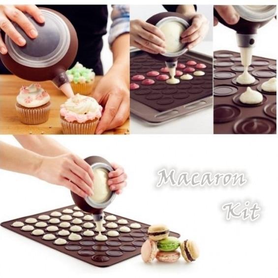 48 Capacity Macaron Kit Non-Stick Silicone Pastry Mat Baking Mold Set Baking Sheet Cake Decorating Piping Pot with 5pcs Nozzles