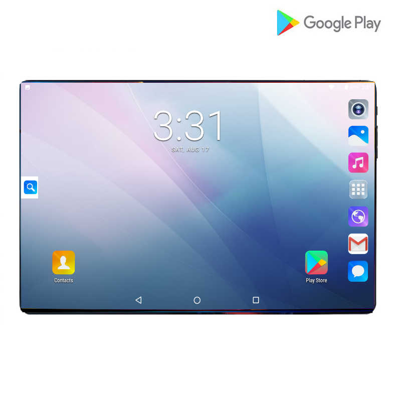 Plus récent 10 pouces tablettes PC 4G-LTE 2.5D verre trempé 6000mAh Android 9.0 OS A-GPS Wifi 6GB RAM 64GB ROM IPS Octa Core tablette 10.1
