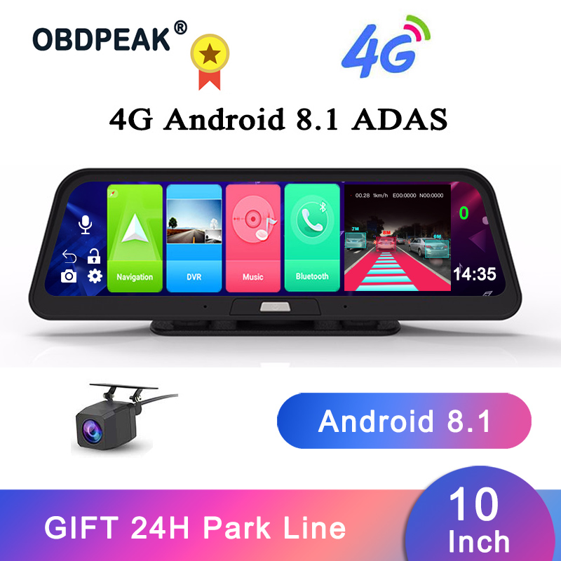 OBDPEAK 10 IPS Car DVR Camera GPS 4G Android 8.1 ADAS FHD 1080P Dash Cam Dual Lens Car Video Recorder Night Vision 24H Park image
