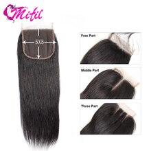 Mifil 5x5 закрытие Remy пряди человеческих волос для наращивания, закрытие швейцарские кружева волосы для наращивания из натуральных волос прямые закрытием предварительно вырезанные