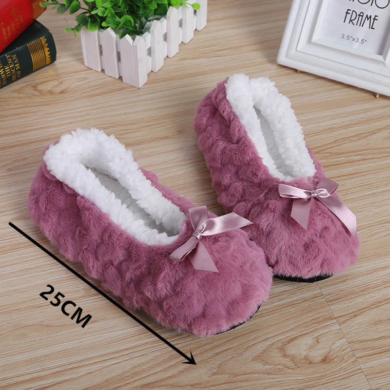 New Cute 2020 Indoor Home Bowknot Slippers Warm Soft Plush Slippers Non-slip Indoor Fur Slippers Solid Color Cute Women Shoes