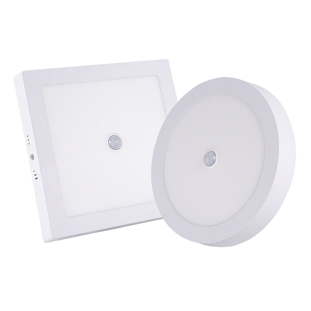 Square Round LED Ceiling Light PIR Motion Sensor LED Panel Light Surface Mounted Human Induction Ceiling Light Bathroom Aisle