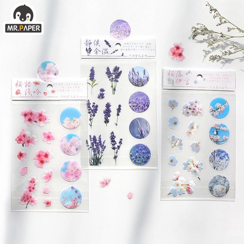 Mr.Paper 4 Designs Natural Sakura Beauty Season Of Flowers Decorative PET Stickers Scrapbooking Sticky Label Diary Stationery