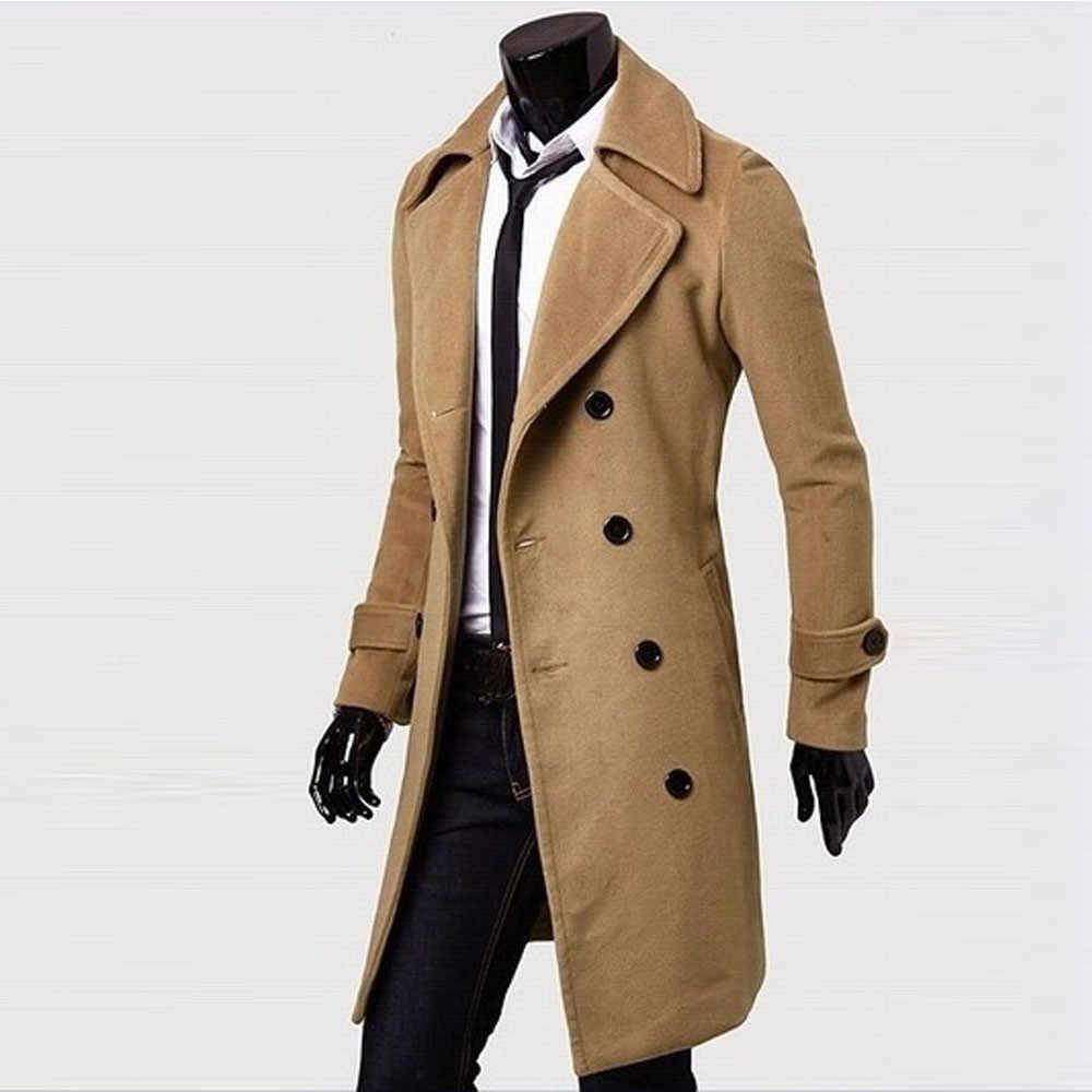 남성 자켓 따뜻한 겨울 슬림 세련된 트렌치 코트 더블 브레스트 남성 캐주얼 윈드 브레이커 오버 코트 자켓 코트 울 혼합