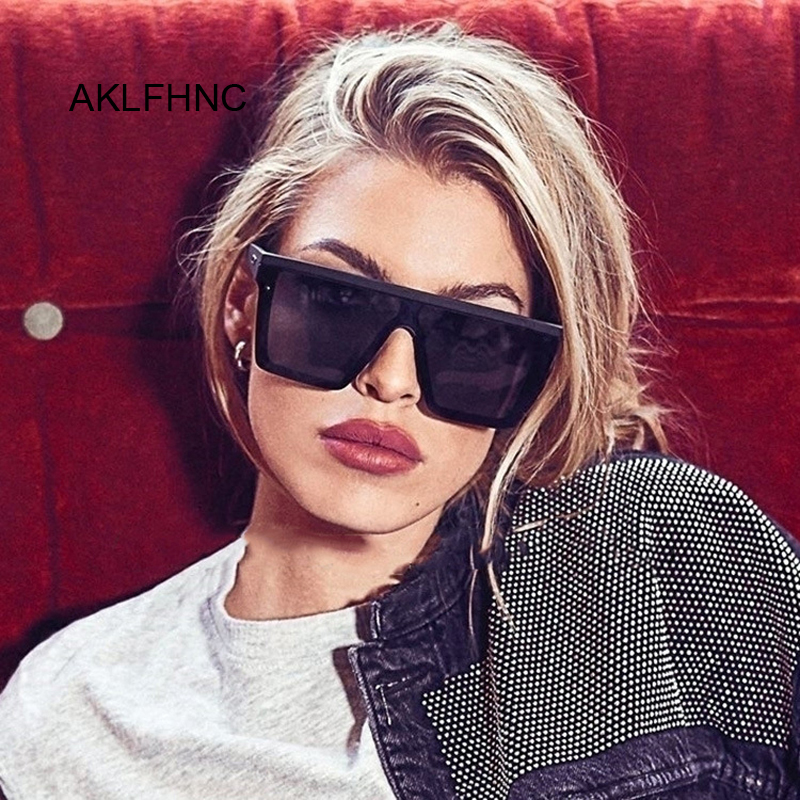 Vintage Oversize Square Sunglasses Luxury Brand Black Leopard Big Frame Sun Glasses Female Shades Coulos