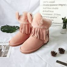 Fur one snow boots female 2019 new female rabbit ears cotton shoes in the tube cowhide warm cotton boots winter plus velvet(China)