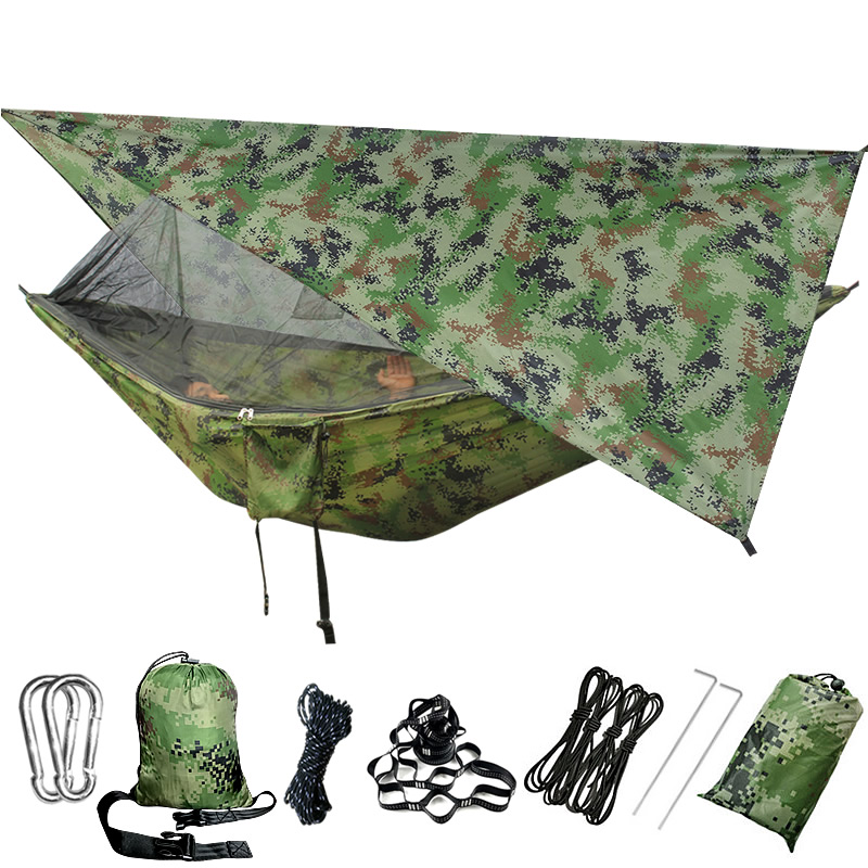 Outdoor Portable Hammock With Mosquito Net And Rain Fly Camping Backpacking Bug Hammocks And Netting Parachute Hammock Canopy