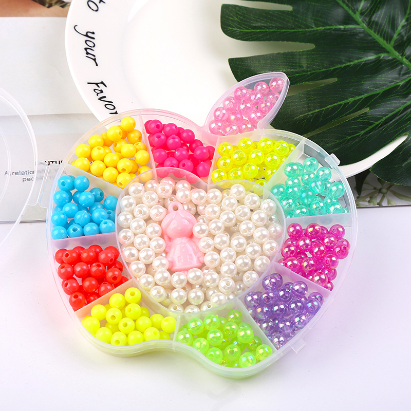 470pcs/Box Children DIY Colorful Acrylic Beads Kit 12 Girds Apple Box Handmade Necklaces Bracelet Jewelry Beads Educational Toys