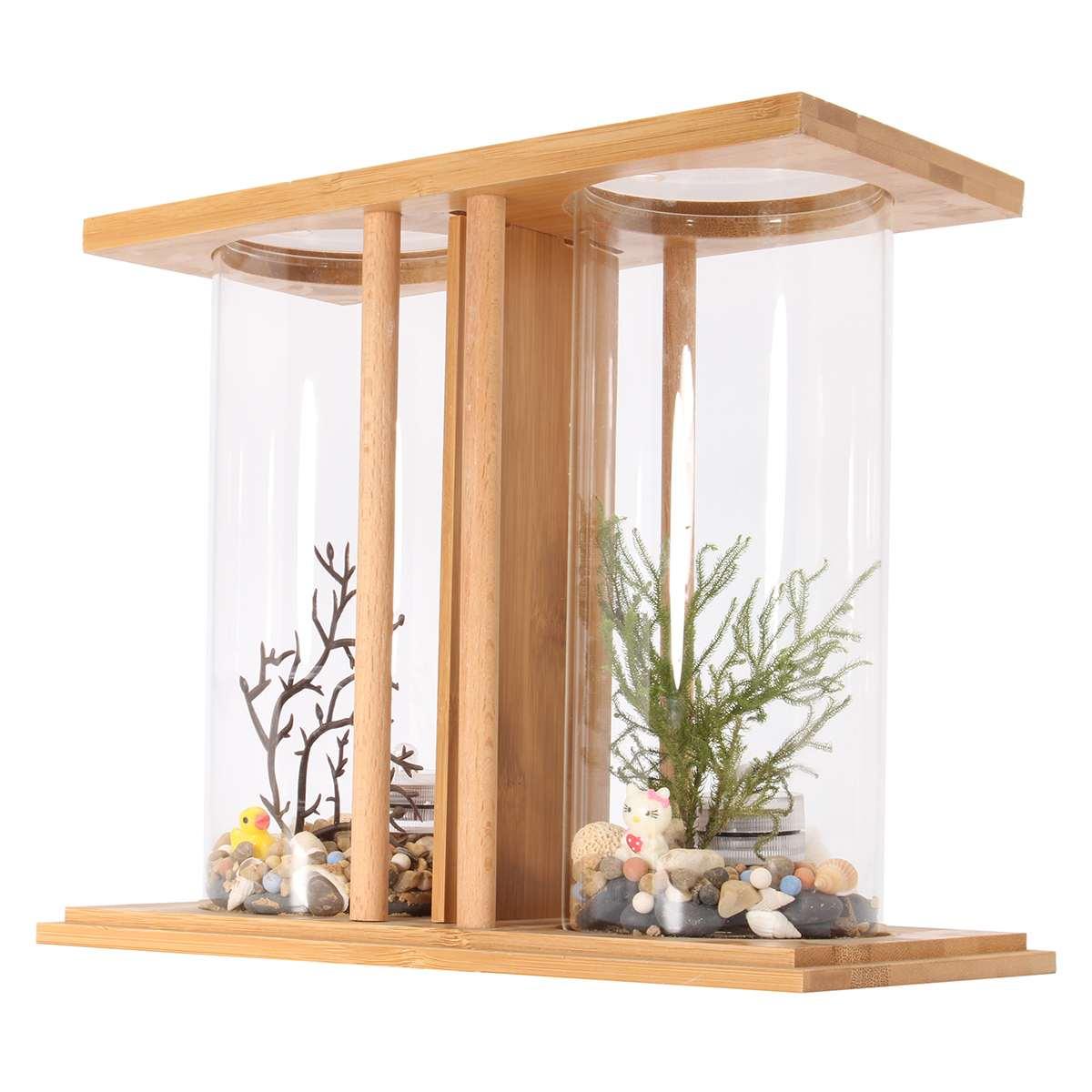 Mini Aquarium Bamboo Mini Clear Dual Glass Plant Fish Tank LED Lighting Goldfish Desktop Landscape Decoration Aquarium Accessory