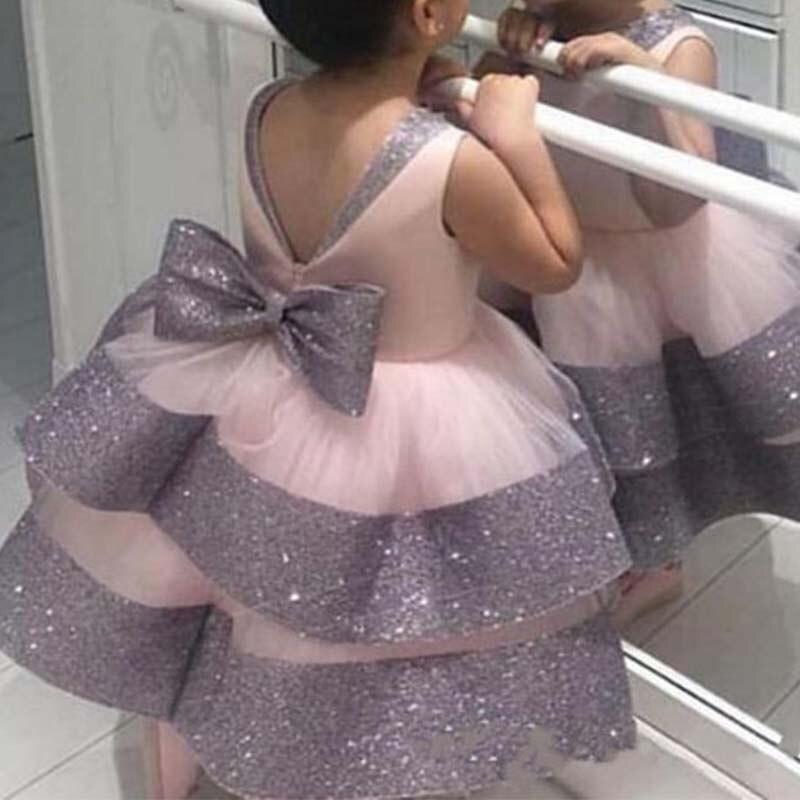 Cute Flower Girl Dress 2020 Stitching Color Princess Ball Dress Big Bow Girl First Communion Dress