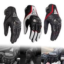 Luvas da motocicleta luvas de couro respirável touchscreen dedo cheio estações com fibra de carbono duro junta anti-queda proteger