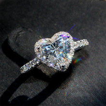 Anillos Heart-Rings Wedding-Engagement Bridal-Cubic-Zirconia Luxury Jewelry Ring-Finger-Bijoux