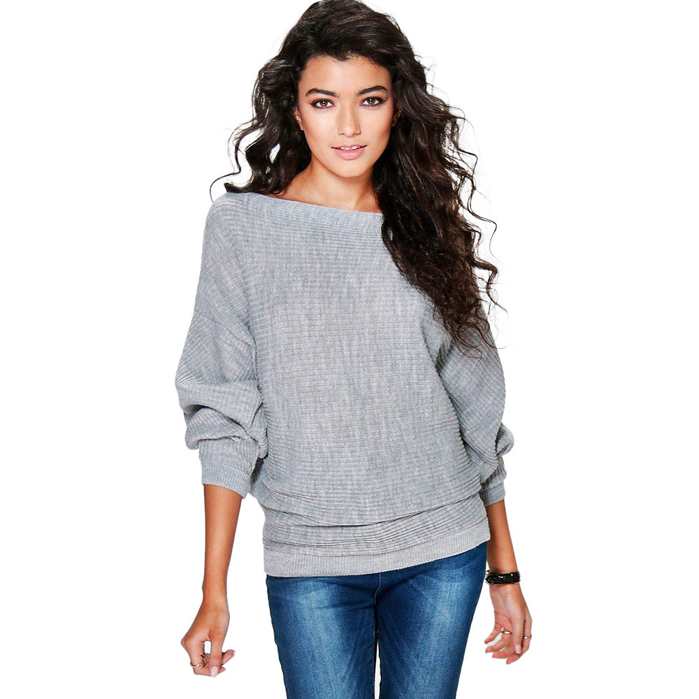 Women Casual Sweaters 2019 Autumn Winter Sweater Loose Long Batwing Sleeve Solid Pullovers Woman Female Thin Sweater Jumper Lady