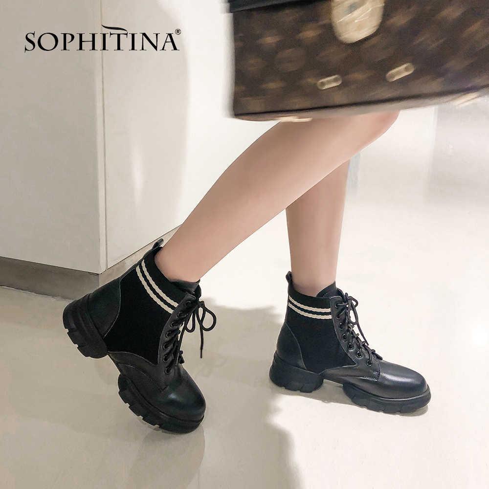 SOPHITINA hakiki deri kadın çizmeler kış el yapımı dantel-up Med topuk ayakkabı temel yuvarlak ayak dışında yüksek topuk bayan çizmeler MO274